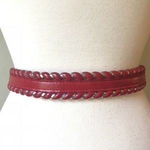 Vintage Justin Western Cowgirl Red Leather Belt